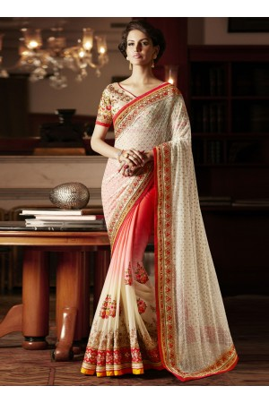 Incredible Cream and Red Embroidered Work Georgette Designer Saree