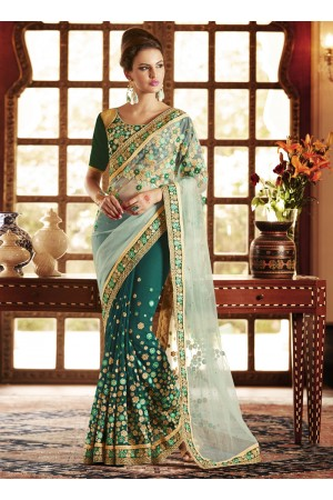 Peppy Georgette Green Patch Border Work Designer Saree