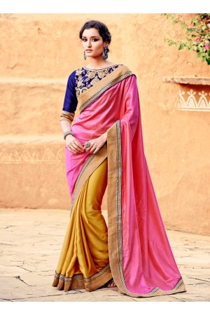 Hypnotizing Mustard and Pink Patch Border Work Crepe Silk Designer Saree