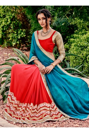 Trendy Red Embroidered Work Georgette Designer Saree
