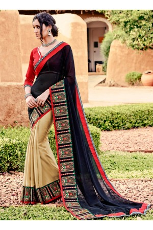 Alluring Georgette Beige and Black Designer Saree
