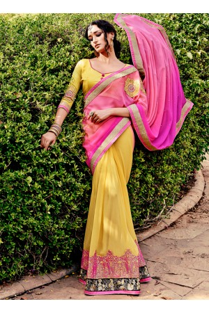 Incredible Georgette Hot Pink and Yellow Embroidered Work Designer Saree