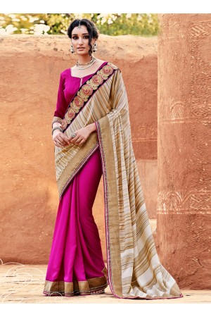 Preferable Hot Pink Designer Saree
