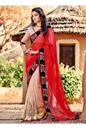 Talismanic Red Embroidered Work Designer Saree
