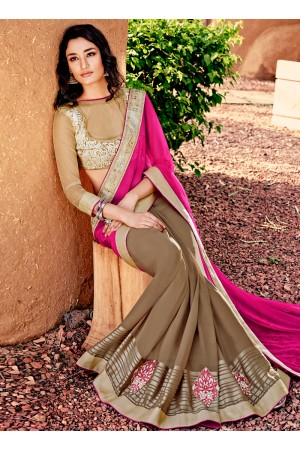 Girlish Satin Beige and Hot Pink Designer Saree