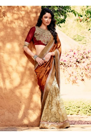 Hypnotizing Net Patch Border Work Designer Saree