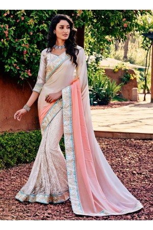 Simplistic Crepe Silk Beige and Pink Patch Border Work Designer Saree