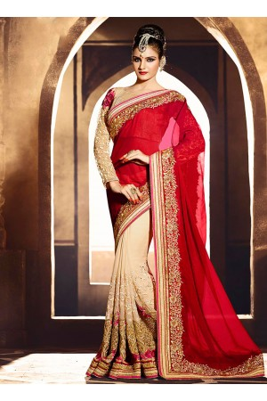 Deserving Shimmer Georgette Red Embroidered Work Designer Saree