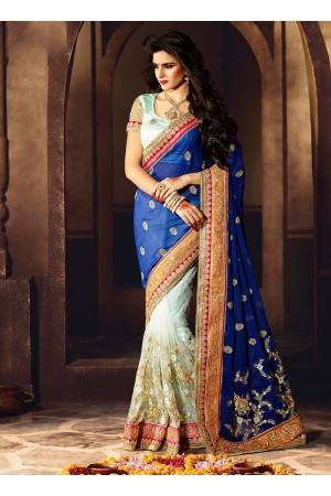 Gleaming Viscose Blue and Sea Green Designer Saree