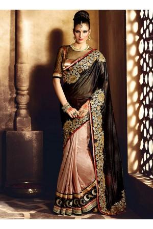 Lurid Lycra Black Zari Work Designer Saree