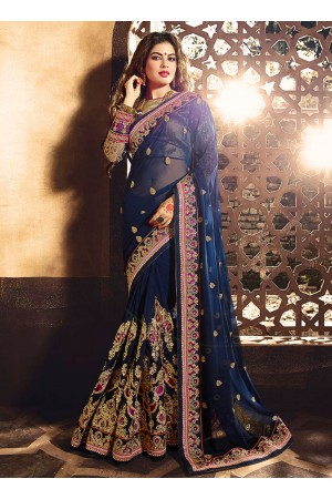 Modernistic Viscose Patch Border Work Designer Saree
