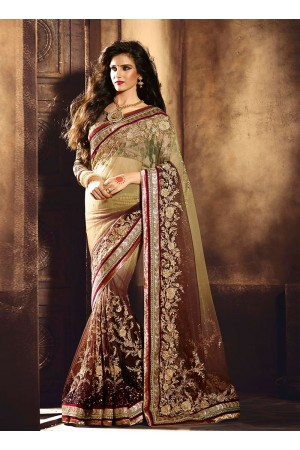 Staggering Net Brown Lace Work Designer Saree