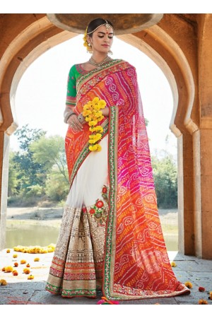 Dignified Multi Color Jaipuri Chiffon Saree