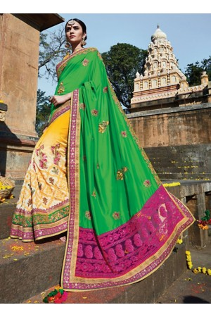 Capricious Green Soft Silk Saree