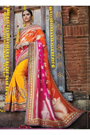 Angelic Multi Color Georgette Jacquard Silk Saree
