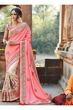 Observable Light Pink Pure Soft Silk Saree