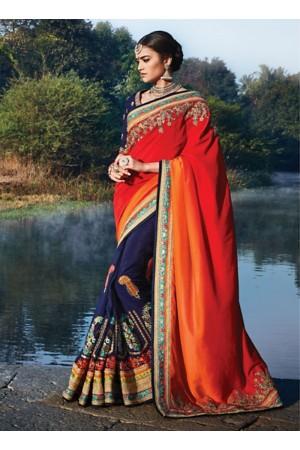 Miraculous Orange Dhupian Silk Saree