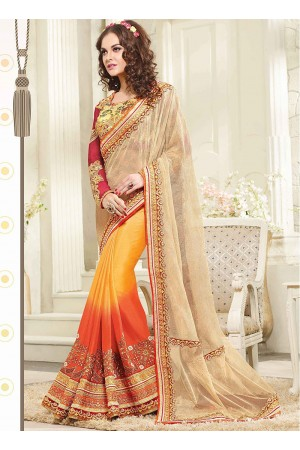 Beckoning Multi Color Georgette On Net Saree