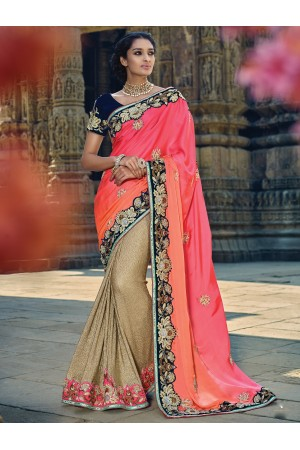 Pink and Beige color satin Wedding saree