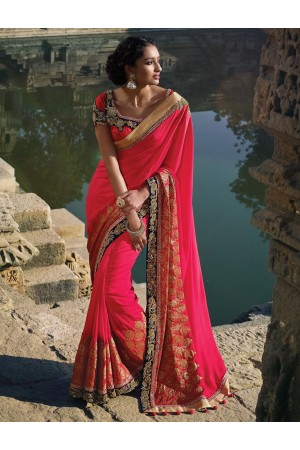Coral Pink silk Wedding saree