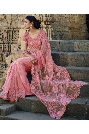 Light Pink Netted Moti work Wedding saree