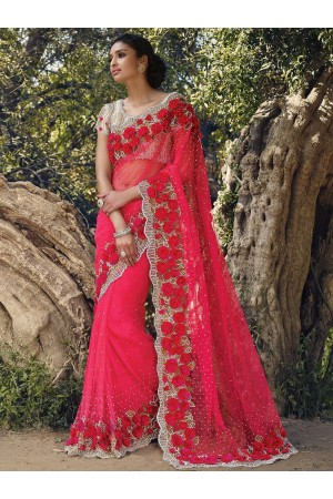 Gorgeous pink netted moti work wedding saree
