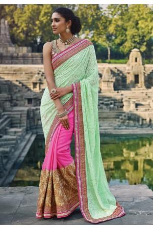 Light Green and Pink color Wedding saree