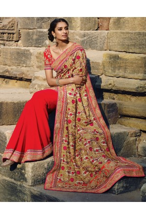 Red and Beige color bamberg Wedding saree