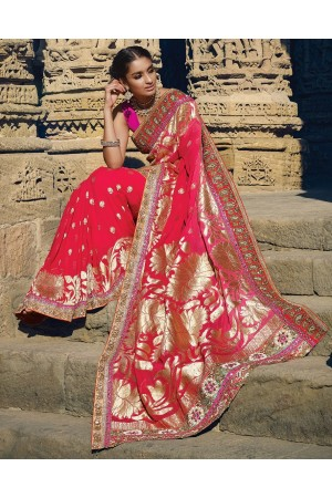 Heavy Pink and red pure silk Wedding saree
