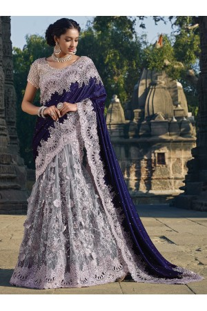 Grey and purple colour Net Moti work lehenga style Wedding saree