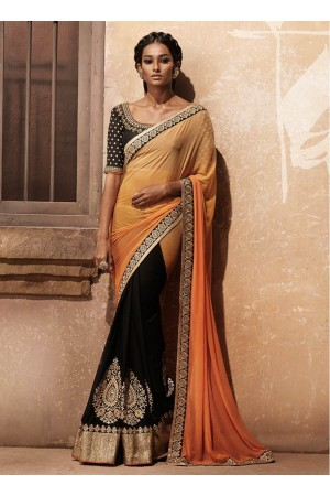 Majestic Black and Orange Shaded Half n Half Designer wedding wear saree