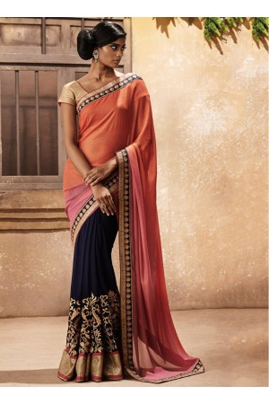 Flamboyant Navy Blue and Orange Zari Work Georgette Designer wedding wear saree