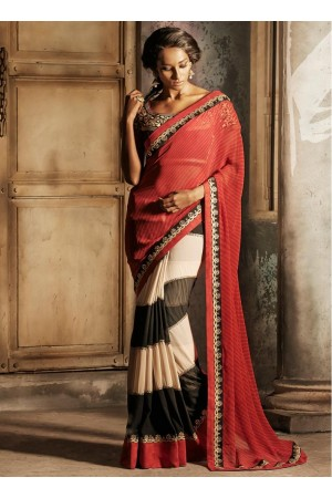 Red, Black & Cream Net Brasso Trendy Designer wedding wear saree