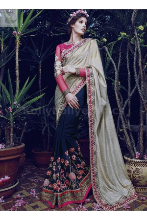 Dark blue and golden gorgeous wedding saree