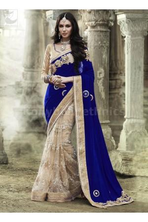 Royal blue net and velvet Wedding Wear Saree