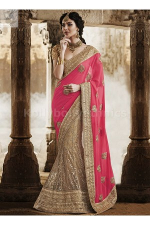 Beige and pink lehenga style Wedding Wear Saree