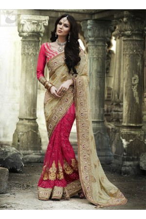 Beige and dark pink Wedding Wear Saree