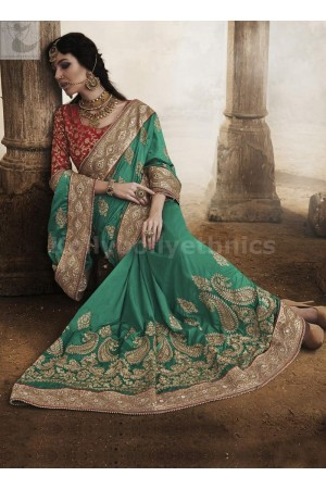 Red and green art silk Wedding Wear Saree