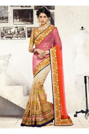 Cream pink and orange Wedding Saree