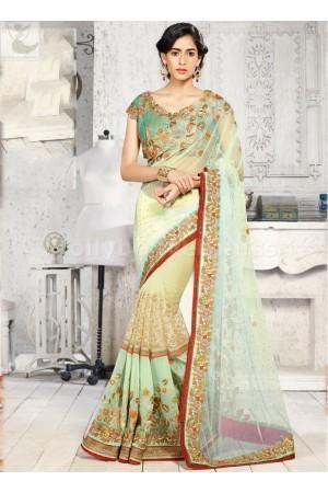 LIght green designer Wedding Saree