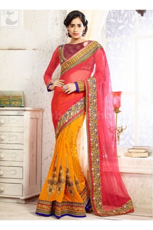 Yellow and pink Wedding Saree