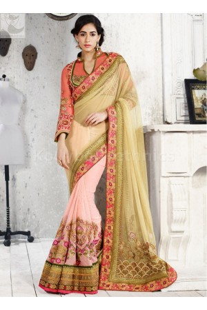 Green and peach colour Wedding Saree