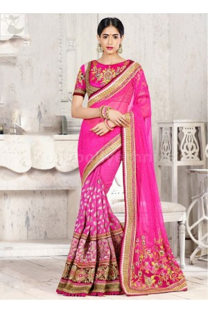 Pink designer Wedding Saree