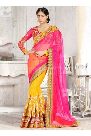 Pink and yellow designer Wedding Saree