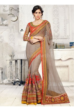 Chikoo colour Wedding Saree