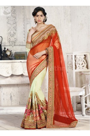 Maroon and light green Wedding Saree