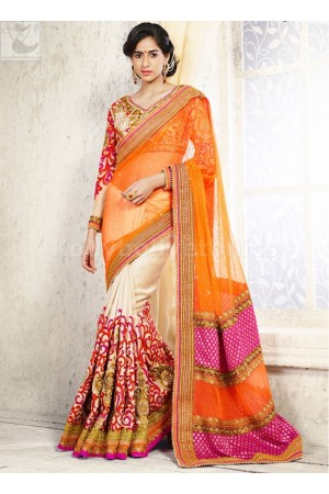 Cream and orange  Wedding Saree