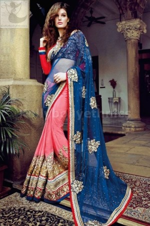 Pink and blue heavy designer wedding wear saree
