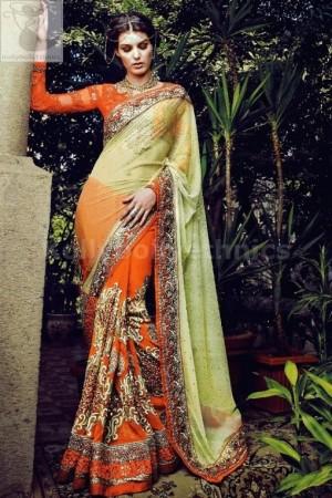 Fabulous Mustuard and orange colour designer wedding saree