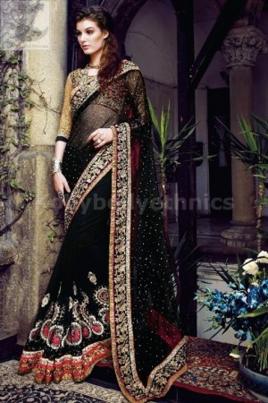 Graceful Black and golden heavy designer wedding saree